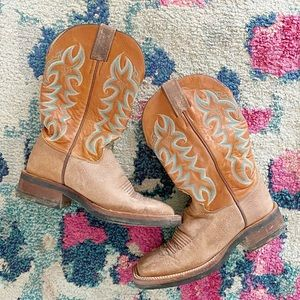 Justin Boots Leather Teal Tan Western